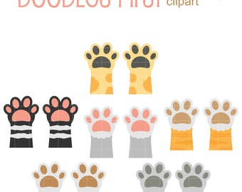 Kitty Paws Digital Clip Art for Scrapbooking Card Making Cupcake Toppers Paper Crafts