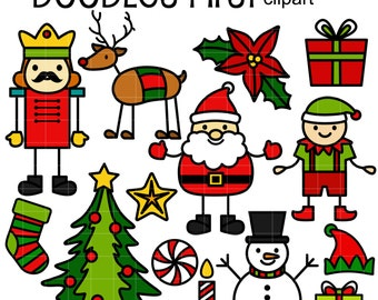 Christmas Stick Doodles Digital Clip Art for Scrapbooking Card Making Cupcake Toppers Paper Crafts
