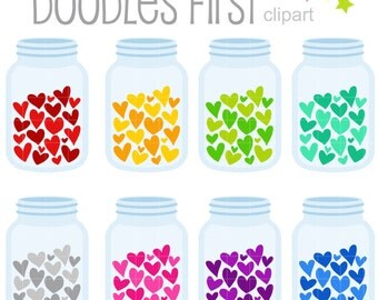 Jar of Hearts Digital Clip Art for Scrapbooking Card Making Cupcake Toppers Paper Crafts