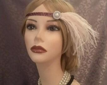 1920's Art Deco Pearl Rhinestone Mauve Pale Violet Flapper Headband Ostrich Feather 20's Gatsby Halloween 20s Wedding Headpiece (720)