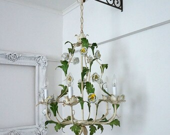 Vintage Metal Floral Chandelier with Capidomonte Porcelain Roses / Shabby Cottage Lighting