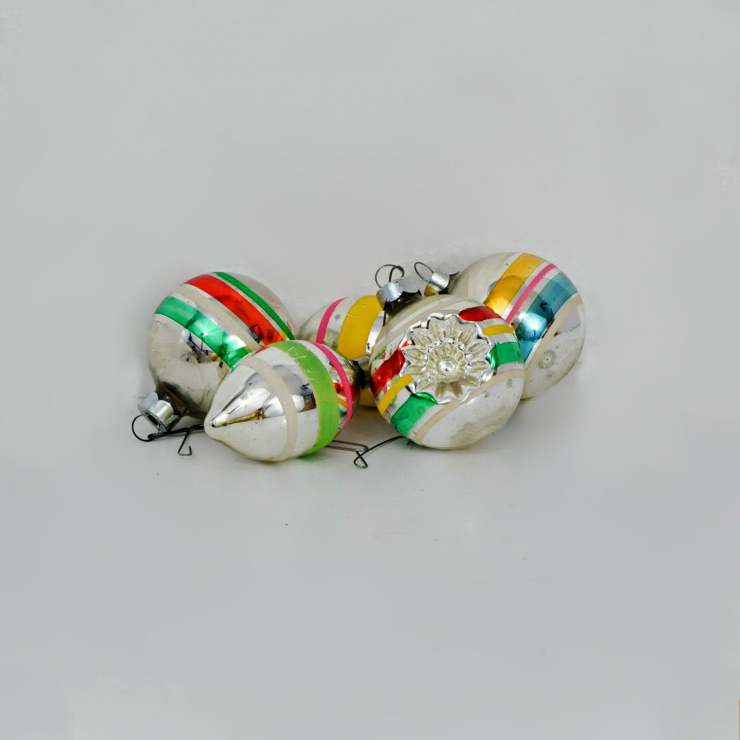 Five vintage glass striped christmas tree ornaments Vintage glass christmas tree ornaments