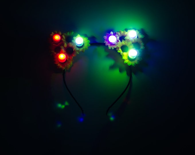 Sunflower Rainbow LED Cat Ear Headband