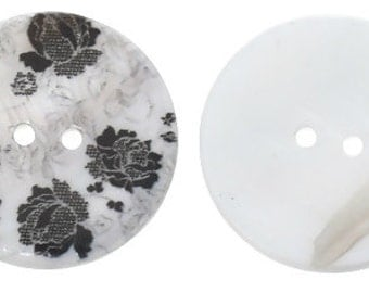 """Shell Sewing Button Round Black Lace Two Holes Flower Pattern - 1 1/8"""" - 2 Pieces"""