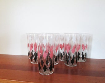 Set of 8 Mid Century Libbey Highball Harlequin White Pink Black Diamond Tumblers