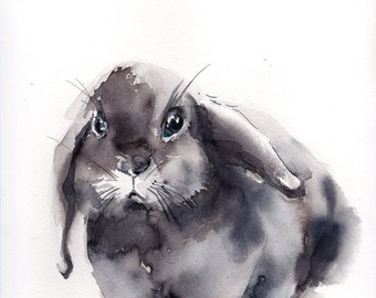 Painting of Bunny, Original Watercolor Painting, rabbit painting, pet painting, watercolour art