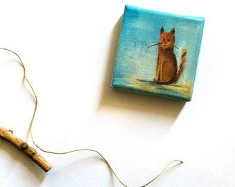 Cat Painting, Tiny Painting, Original Acrylic Painting, Cat Art, Miniature Painting