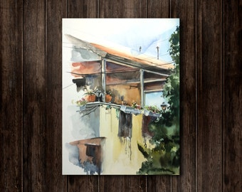 Original Watercolor Painting, Wall of House from Mediterranean Village, Watercolour Art