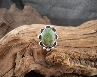 Size 7.25 - Turquoise & Sterling Silver Signed Piece Handmade