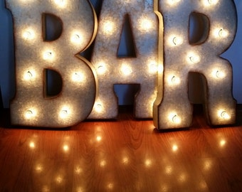 "21"" BAR Large Metal Marquee Sign"
