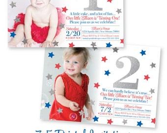 4th of July First Birthday Invitations - Red White Blue Kids Birthday Invitations, Patriotic Birthday, Stars & Stripes Birthday Invites