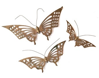 Mid Century Brass Butterfly Wall Decor - Vintage Brass Butterflies Hanging - Set of Butterflies - Brass Wall Decor - Hollywood Regency Decor