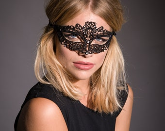 Black Lace Mask, Masquerade Mask, Lace Eye Mask, Party Mask, Costume Mask, Venetian Mask, New Years Party, Halloween Mask, Masked Ball
