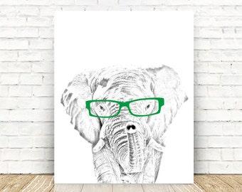 Elephant, Elephant Nursery, Safari Nursery, Elephant with Glasses, Safari Animals Nursery, Elephant Print, 5x7, 8x10, or 11x14 PRINT.