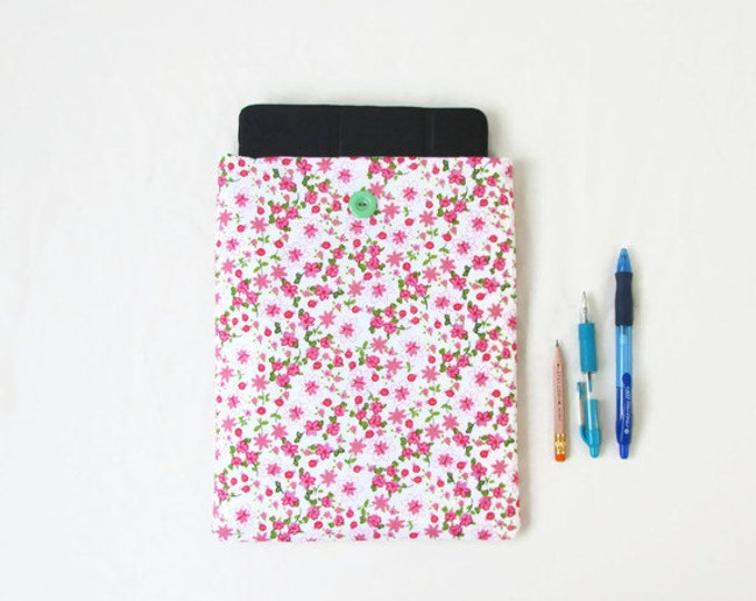 Pink Girly IPad case, 10 inch tablet case, handmade in the UK