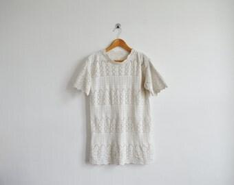 vintage white crochet sweater