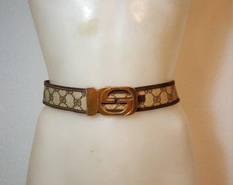 FREE  SHIPPING  1980  Gucci Belt Canvas & Gucci Buckel
