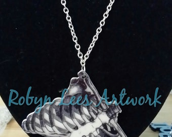 SALE Anatomical Medical Human Rib Cage Printed Acrylic Necklace on Various Lengths of Silver Chain
