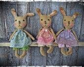 Primitive Bunny Rabbit Rag Doll, Easter Bunny Gift, Pastel Spring Decor, OFG FAAP