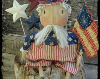 Primitive Uncle Sam, Folk Art Rag Doll, Patriotic Americana Decor, Door Hanger, OFG FAAP