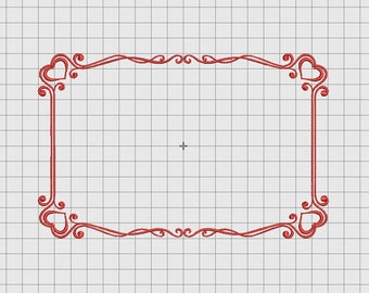 Heart Frame Border Embroidery Design in 4x4 5x7 and 6x10 Sizes