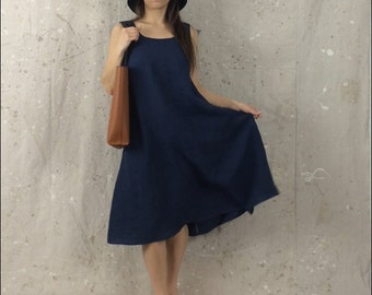 Linen Sundress / Sleeveless / Swing / Knee / Midi