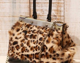 Fur purse, Small cross body, Leopard print mini bag, small doctor bag, structured bag, leather shoulder bag, top handle fur bag,