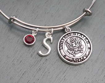 Personalized Army Bangle, Army Bracelet, Army Mom Gifts, Army Girlfriend Gift, Army Wife Gift, Letter Birthstone, Military Bracelet, Silver