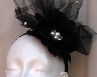 Pearl Dahlia and Black Veil Headband