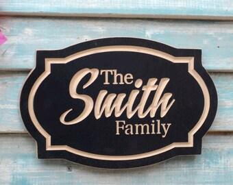 """11""""x7"""" Family Name Plaque, Housewarming Gift, Anniversary Gift, Wedding Gift, Customizable Family Name Plaque"""