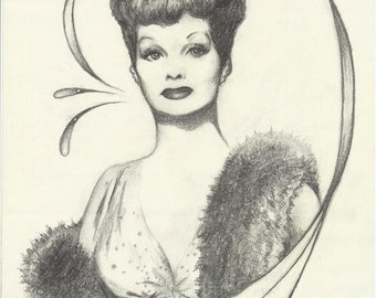 LUCILLE BALL original art decko and pencil rendering by Dave Woodman