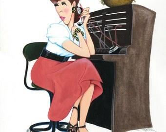 Lily Tomlin as Ernestine parody caricature