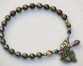 Czech Glass Bohemian Beaded Bracelet with Owl Charm