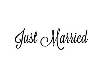 Juste marié autocollant, autocollant de voiture juste mariés, Just Married signe, vinyle Decor de mariage, mariage jour autocollant, autocollant de voiture juste mariés, juste attelé