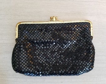 Vintage 50s 60s 70s Black Chain Mail Beaded Clutch Purse Wallet