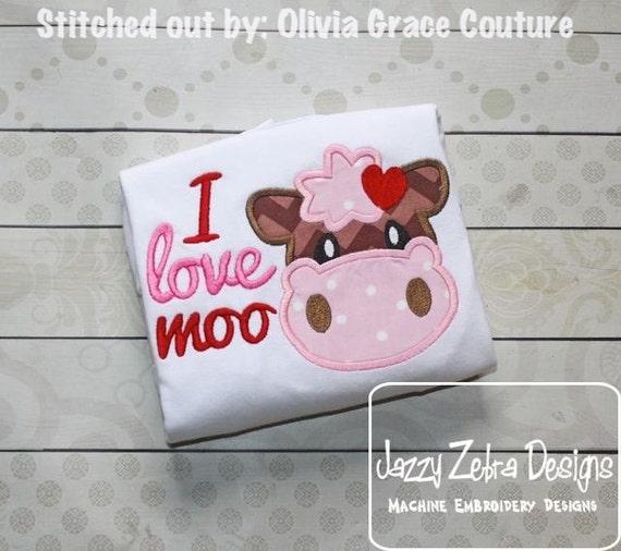 I love Moo Appliqué embroidery Design - Valentines day appliqué design - Valentine appliqué design - Cow appliqué design