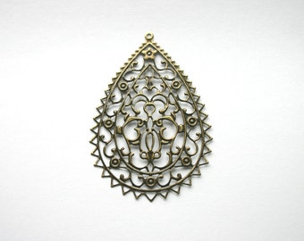 "8 - Lg. Teardrop Filigree Lightweight Metal Earrings Antique Bronze 3""x2"" Necklace Paintable Component Vintage Jewelry"