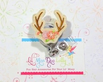 Deer Antlers ID Badge-Embroidered Felt Badge Reel-Antlers ID Badge- Felt Applique-Retractable ID Badge Holder- Badge Reel Clip (Set of 1)