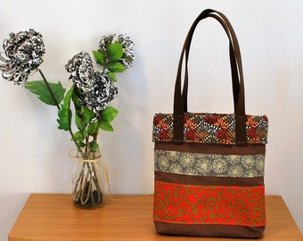 Large Handmade Canvas Red and Brown Tote Bag