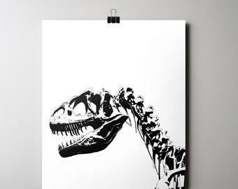 Dinosaur Print, 16x20 Poster INSTANT DOWNLOAD, Dino Bones Print, Printable Art, Black & White Decor, Skeleton Print, Modern Boys Room Print