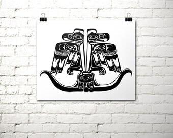 Thunderbird Print, Tribal Print, 16x20 Instant Download, Haida Indian, Printable Art, Native American, Black and White Print, Totem Pole Art