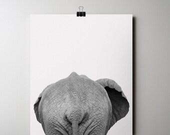 Elephant Print, Safari Animal Poster, INSTANT DOWNLOAD, Black and White Photography 16 x 20 Poster, Animal Printable Art, Elephant Rear