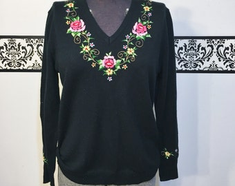 1960's Black Floral Embroidered Pin Up Sweater by Adee of California, Size Medium,