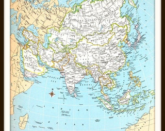Vintage Asia Map, Large 12 x 9 Art Print, China, Japan, India, Colorful Vintage 1970s Book Plate, Wall Art, Ready to Frame