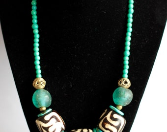 FATUMA: Kenyan Necklace, Batik Bone, Turquoise Africa, Ghana Recycled Glass, African Statement Jewelry, African Brass, Padre Beads