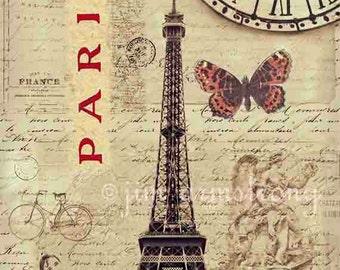 Paris Print, Mixed Media Art, Paris Decor, Eiffel Tower, Paris Wall Art, Sepia, Blue