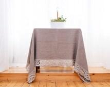 Linen tablecloth, Gray flax tablecloth, Natural tablecloth rectangle, Flax tablecloth, Dining linen tablecloth, Natural linen tablecloth