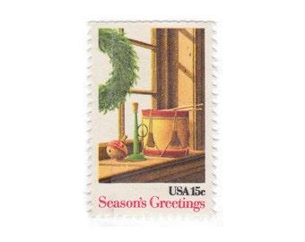 10 Unused Vintage Christmas Postage Stamps -1980 15c Season's Greetings -  Item No. 1843