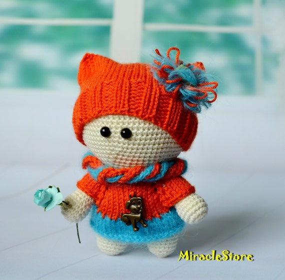 Miniature Amigurumi Doll : Little crochet doll in red toys amigurumi miniature