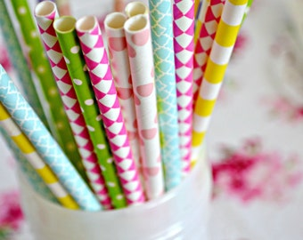 DIPPIN DOTS -Easter Straws - Paper Straws *Pastel Straws *Easter Decor -Summer Party - Purple Straws - Yellow Straws -Blue Straws -Pink